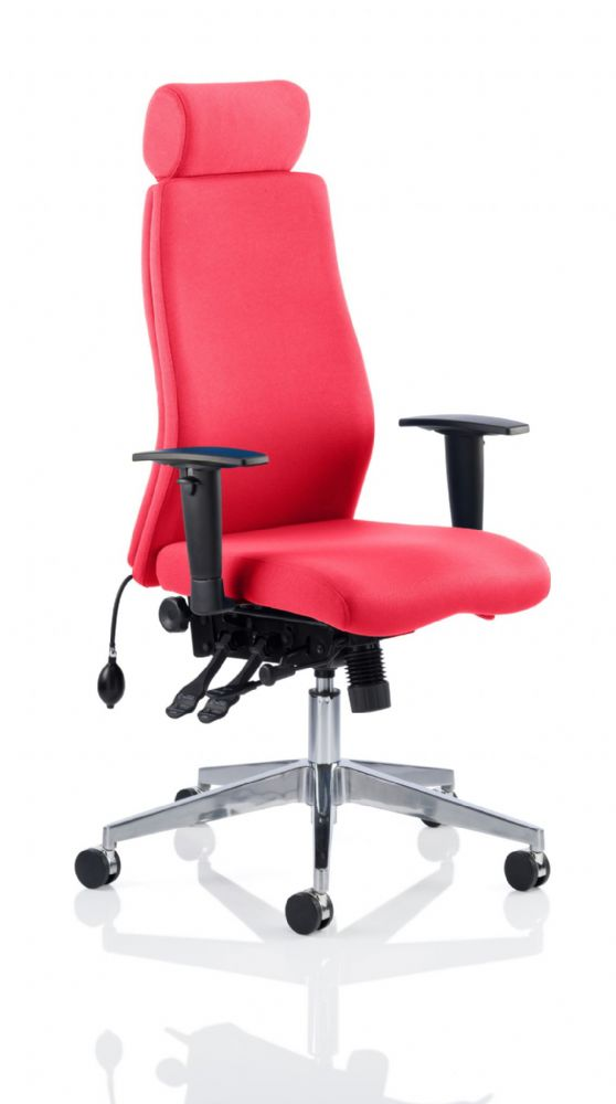 Onyx Posture Office Chair Arms Task Multi-Functional Asynchronous Mech Headrest Choice of Colours